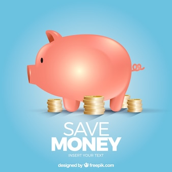 Blue piggy bank background with coins