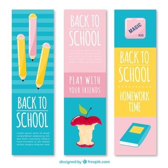 青、ピンク、黄色の学校のバナー
