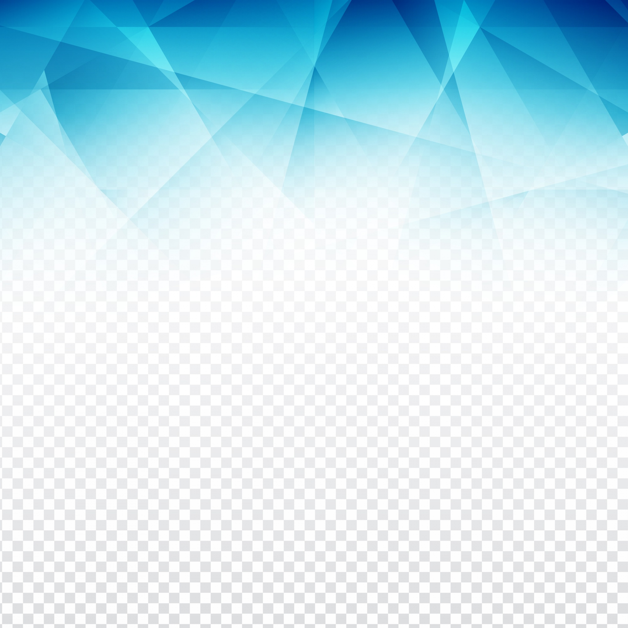 Blue polygonal abstract shapes with a transparent background