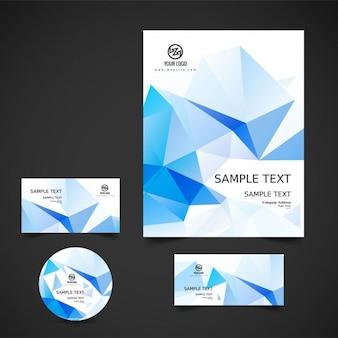 Blue polygonal business stationery