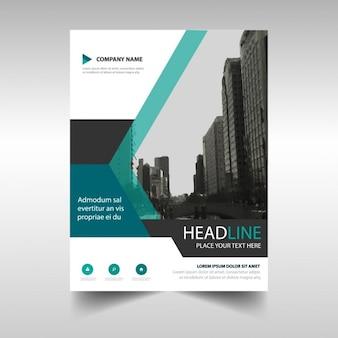 Blue polygonal corporate brochure