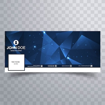 Blue polygonal facebook banners