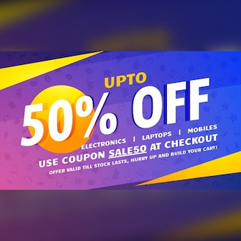 Blue, purple and yellow discount voucher
