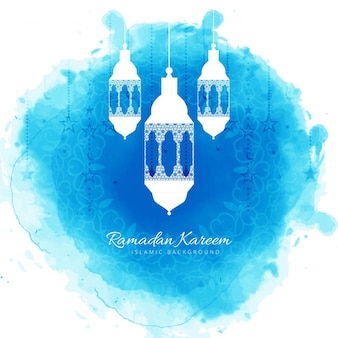 Blue ramadan kareem illustration with lanterns