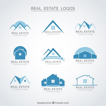 Blue real estate logos