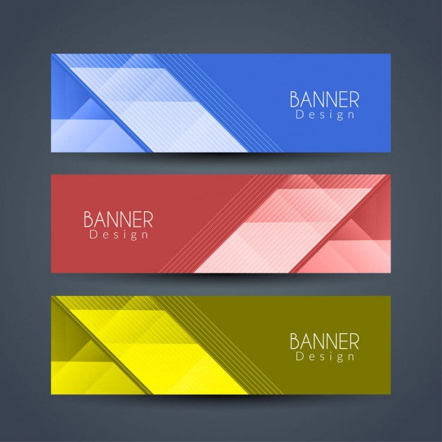 Blue, red and yellow banners