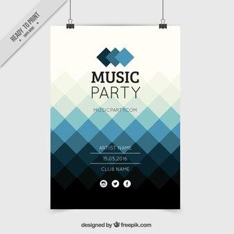 Blue rhombus poster