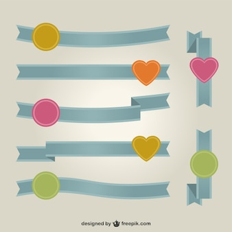 Blue ribbons with circles and hearts in different colors