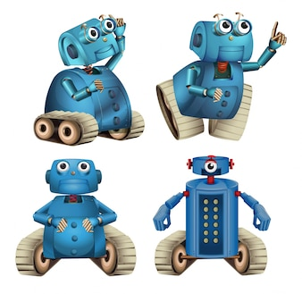 Blue robots doing different things illustration