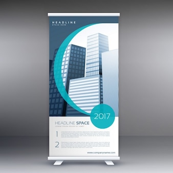 Blue roll up template with wavy shapes