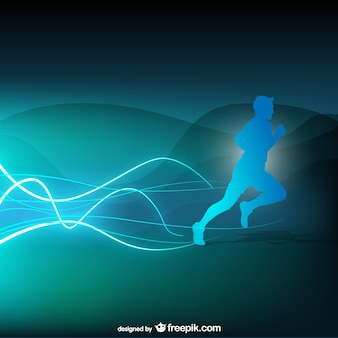 Blue runner silhouette background