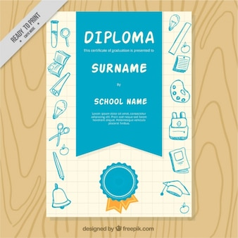 Blue school diploma with sketches