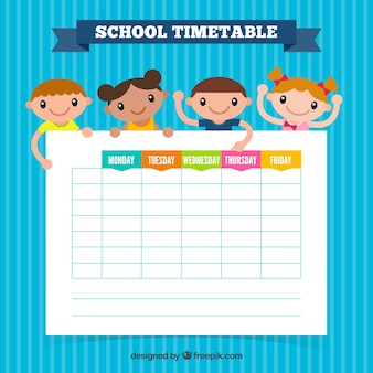 Blue school timetable template