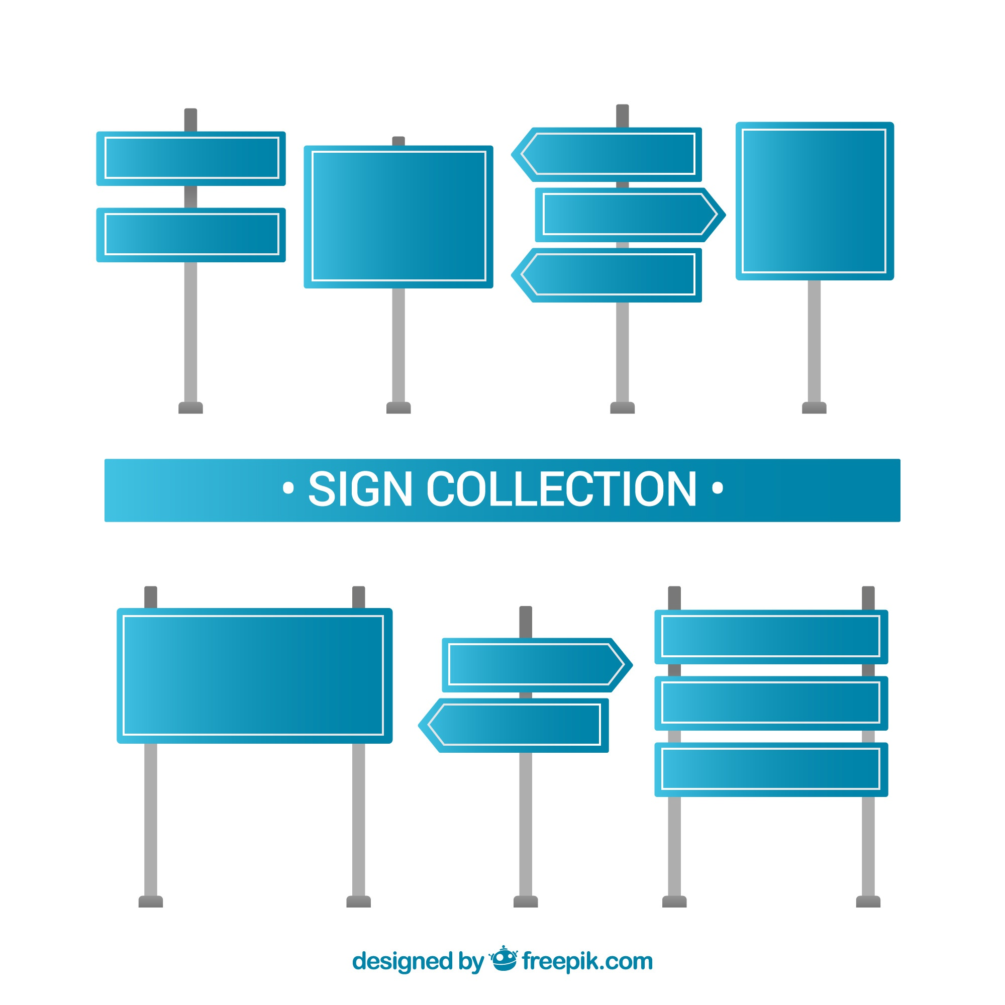 Blue signs collection