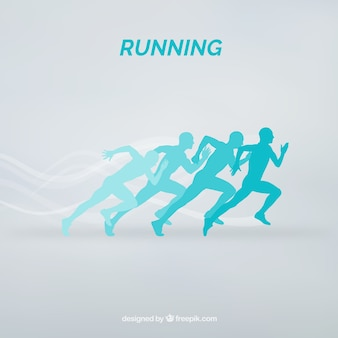 Blue silhouettes of runners background