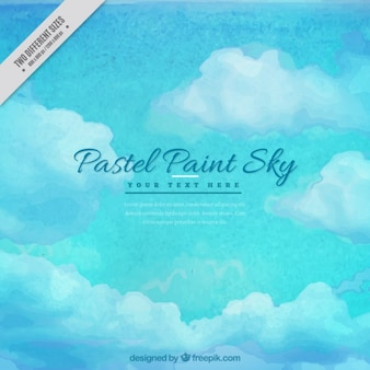 Blue sky watercolor background in pastel tones