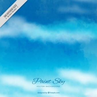 Голубое небо с облаками акварель фон