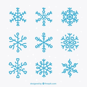 Blue snowflake icons