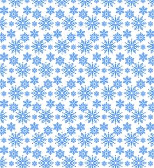 Blue snowflake seamless vector pattern