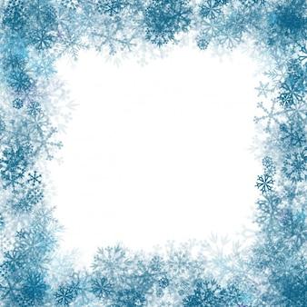 Blue snowflakes frame