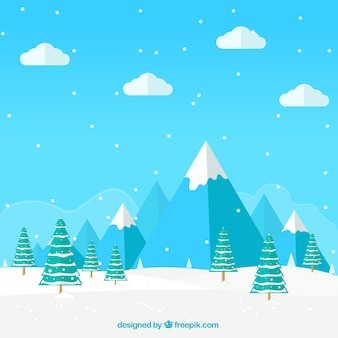 Blue snowy mountains background with pines
