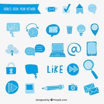 Blue social media doodles