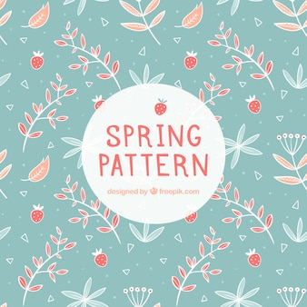 Blue spring pattern with strawberries and vegetation