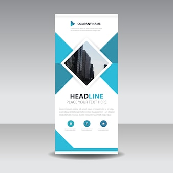 Blue square creative roll up banner template