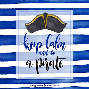 Blue striped background with pirate hat and phrase