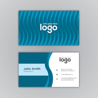 Blue stripes business card design
