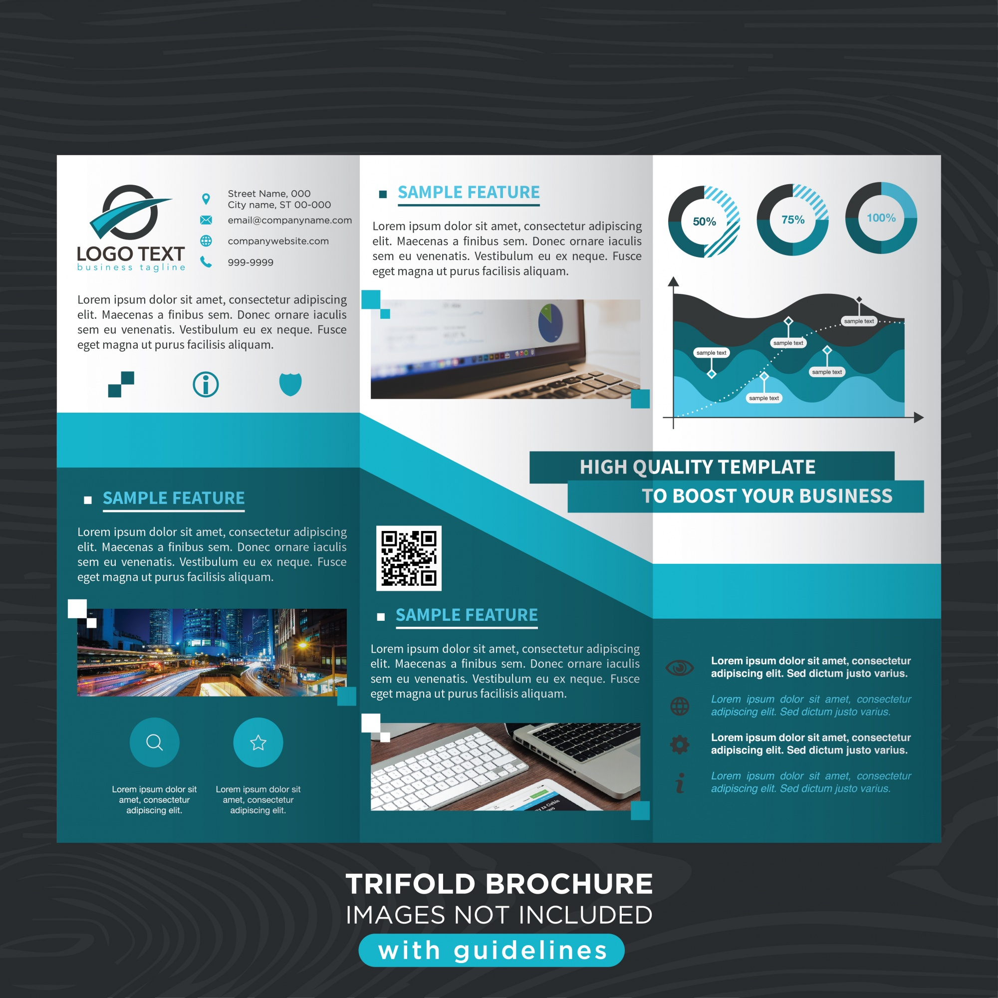 Blue stylish business trifold brochure template