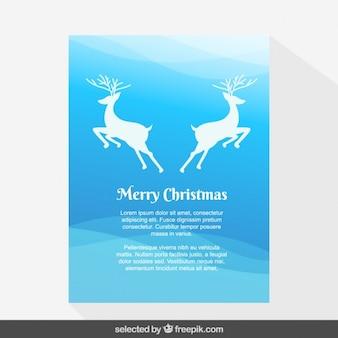 Blue symmetrical deers Christmas card