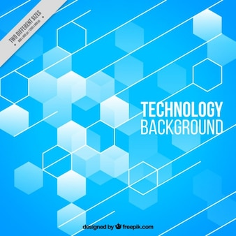 Blue technology background with hexagons