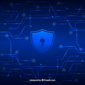 Blue technology background with shield