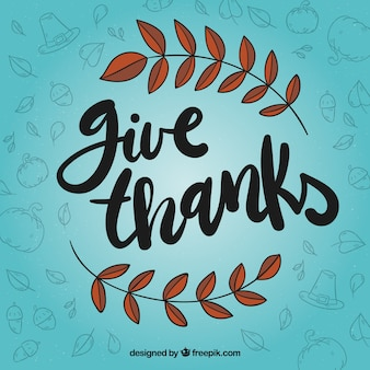 Blue thanksgiving lettering design