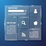 Blue transparent glass web template