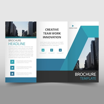 Blue trifold business brochure template