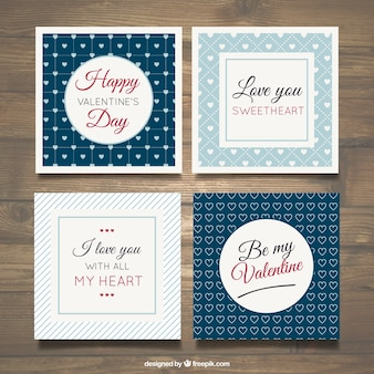 Blue valentine day card collection
