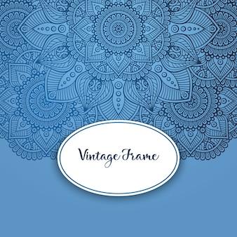 Blue vintage frame with mandala design