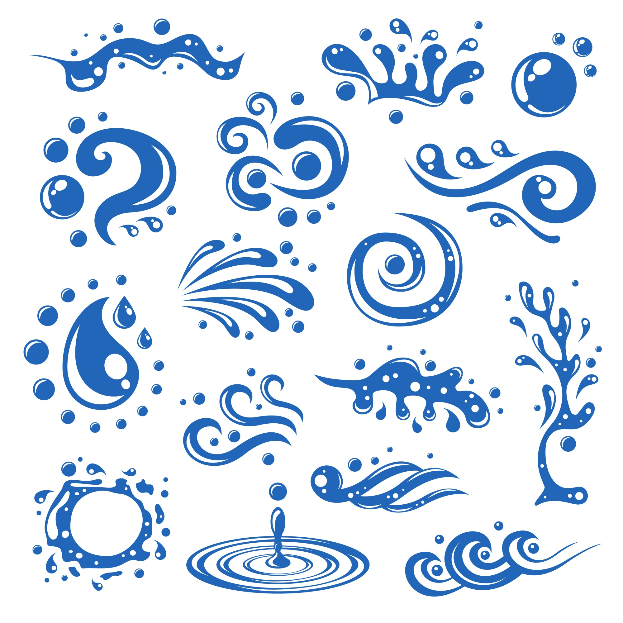 Blue water splashes waves drops blots decorative icons isolated vector illustration