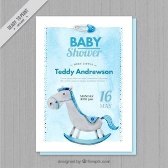 Blue watercolor baby shower invitation