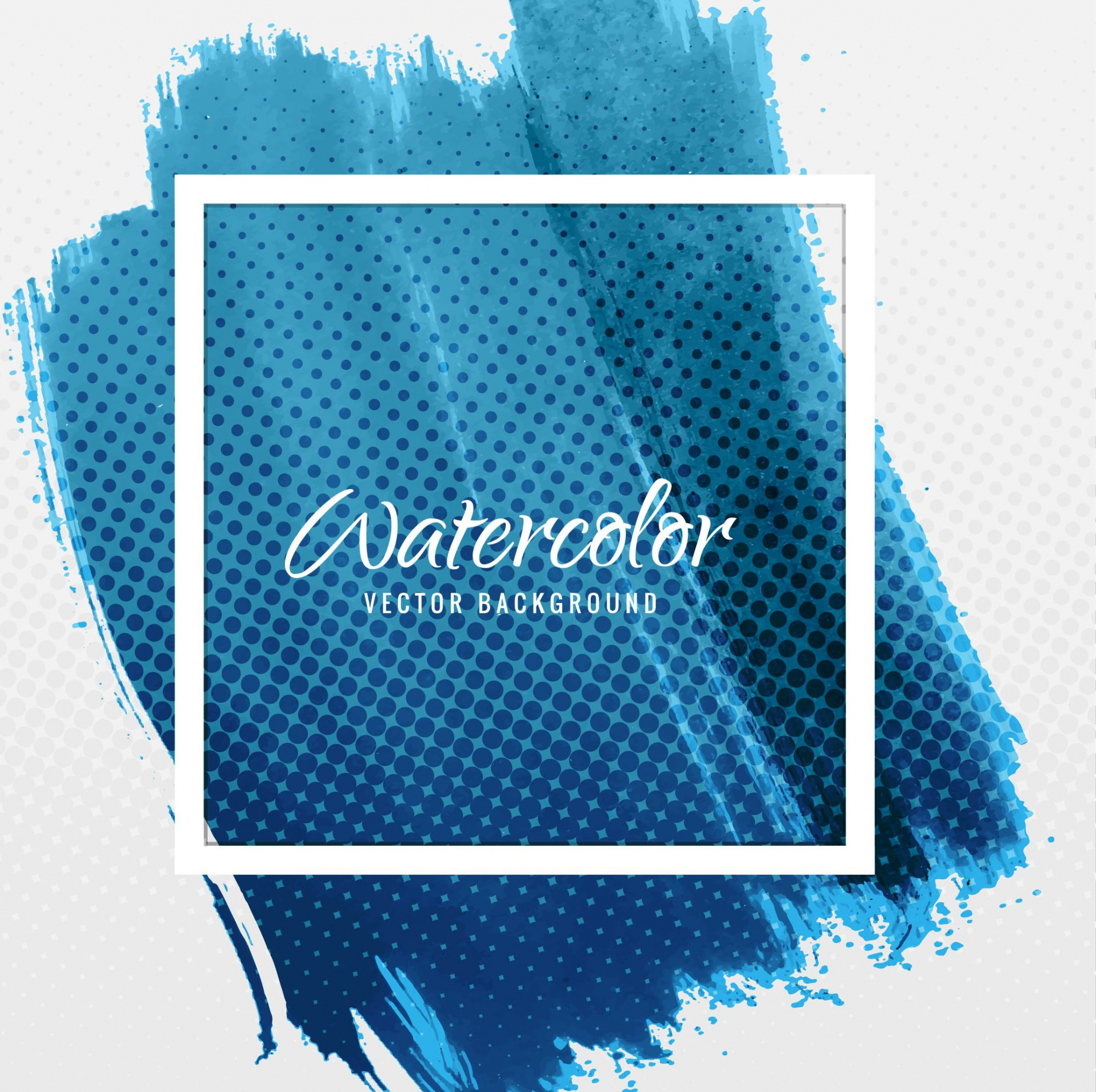 Blue watercolor background with a frame