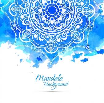 Blue watercolor background with hand drawn mandala