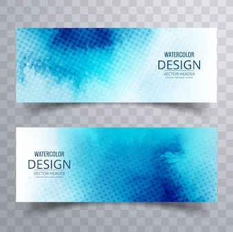 Blue watercolor banners