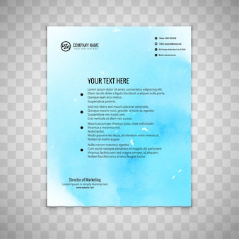 Blue watercolor business brochure