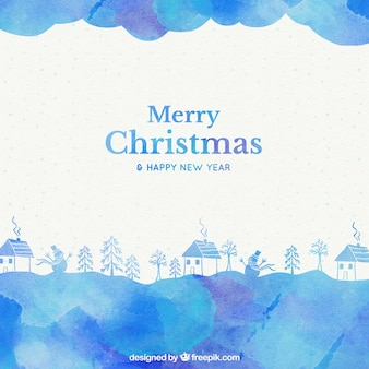 Blue watercolor christmas houses background