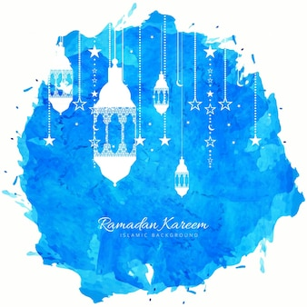 Blue watercolor decorative ramadan kareem design
