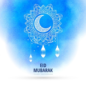 Blue watercolor eid mubarak background