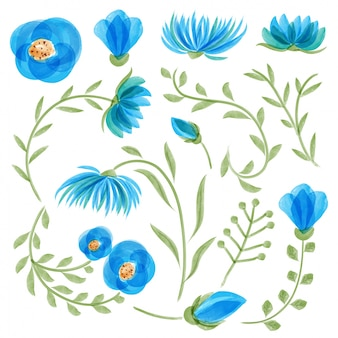 Blue watercolor floral collection with leaves and flowers