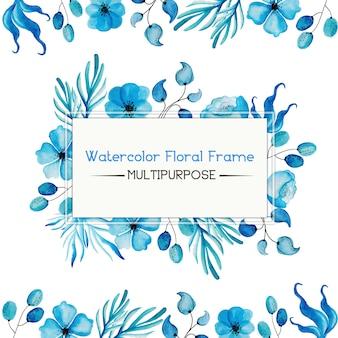ブルーの水彩花フレーム多目的